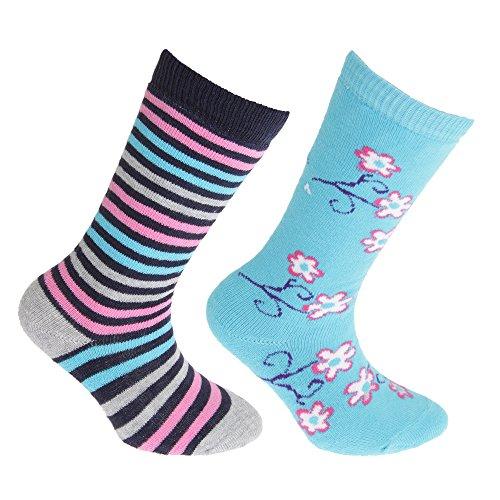 Floso® Mädchen Gummistiefel Socken (2 Paar) (31 EU) (Blau/Pink)