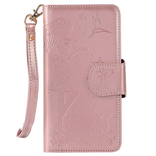 ikasus Compatible avec Coque iPhone 6S Plus/6 Plus Etui,Motif Gaufrage Fleur robes fille chat oiseaux Housse Cuir PU Housse Etui Coque Portefeuille supporter Flip Case Etui Housse Coque,Or Rose