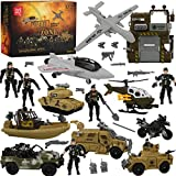 Top Right Toys Military Action Army Base Set - 42 Piece Huge Military Playset for Boys with Command Center, 9 Large Size Vehicles, Accessories and 10 Army Men Figures
