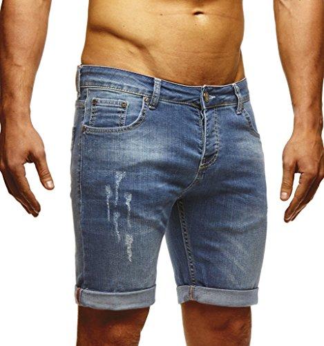 LEIF NELSON Leif Nelson Herren Jeans Shorts LN1397; W32; Blau