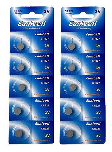 Eunicell 10 x CR927 3V Lithium Knopfzelle 30 mAh (2 Blistercards a 5 Batterien) EINWEG Markenware