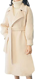 Lapel Wool Coat Women Trench Long Jacket Winter Belt Overcoat Outwear