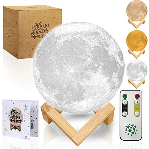 Moon Lamp with Timer - Moon Light 3D Moon Lamp - Seamless - Moon Night Light with Stand - Mood, Globe, Cool Lamp, Gift, with Wooden Stand, Box, Kids, Moonlight LED, 5.9 in- 3 Color
