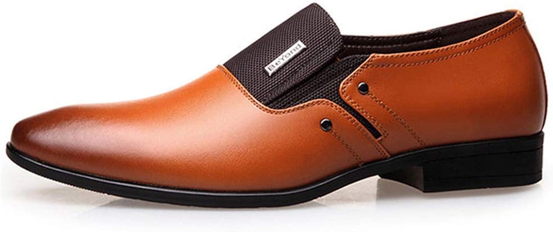 ZHRUI Men Formal shoes Spring Autumn Dress Wedding Pointy Loafers Men Business shoes (color   J2 Yellow, Size   9=43 EU)