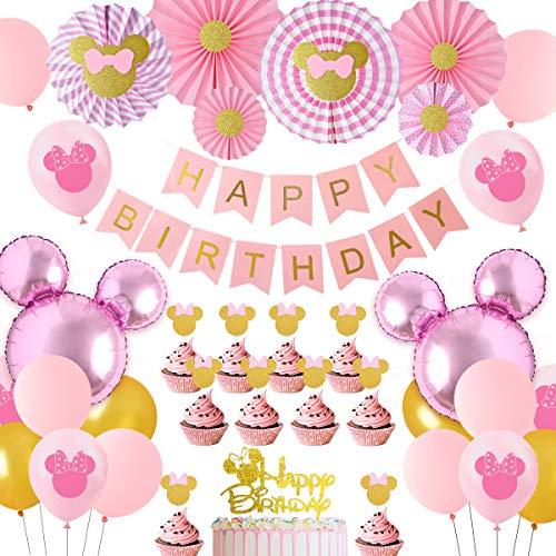 JOYMEMO Decorazioni per Feste a Tema Minnie Rosa e Oro, Palloncini con Testa di Mouse Minnie Ventagli di Carta Cake Toppers, Ragazze 1 ° 2 ° 3 ° Forniture per Feste di Compleanno