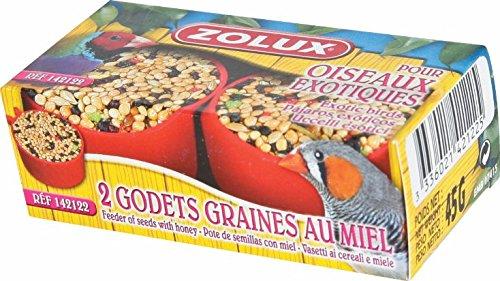 Zolux - Graines pour Oiseaux Exotiques Godets de graines au Miel spécial Oiseaux Exotiques x 2