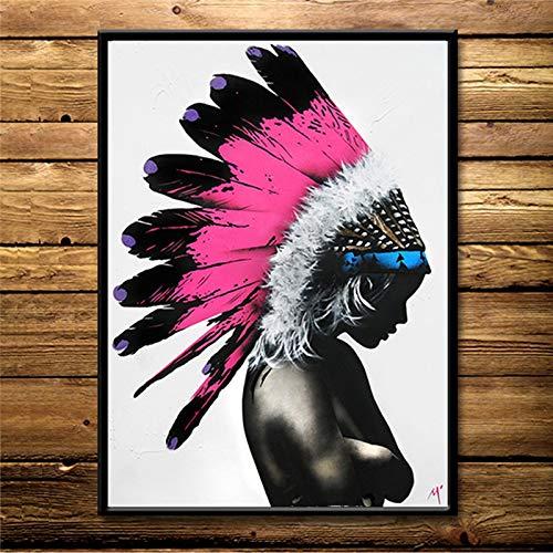 Sexy Schönheit Schwarz-Weiß-Frau Ölgemälde Poster auf Leinwand und Drucke auf Cuadros Wandkunst Bild für Wohnzimmer rahmenlose dekorative Malerei A118 70x100cm