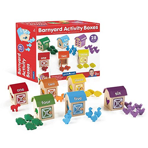 Guidecraft Barnyard Activity Boxes -21 Colorful Animal Blocks  Kids Preschool Learning and Development Toy