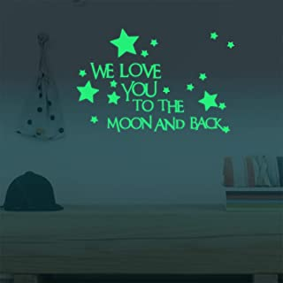 Nursery Wall Decals Luminous Words Sticker at Night - WE Love You to The Moon and Back - Words Glow in The Dark with Stars Around Wallpaper for Kids Bedroom Ceiling