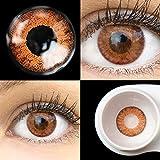 GLAMLENS Flora Pure Hazel braun + Behälter | Sehr stark deckende natürliche braune Kontaktlinsen farbig | farbige Monatslinsen aus Silikon Hydrogel | 1 Paar (2 Stück) | DIA 14,50 | Ohne Stärke