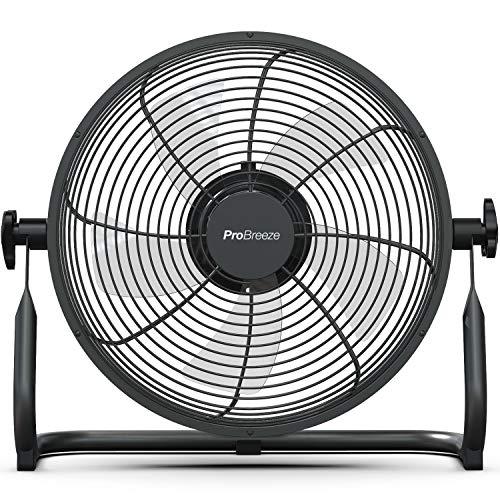 Pro Breeze 30cm Bodenventilator mit Akku - Kabelloser Betrieb mit 4,5 bis 24 Stunden Laufzeit, neigbarer Ventilatorkopf, leicht und tragbar für Gebrauch im Büro, Haus oder Garten