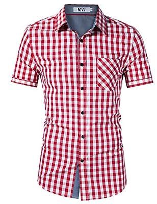 MrWonder Men's Casual Slim Fit Button Down Short Sleeve Plaid Dress Shirts