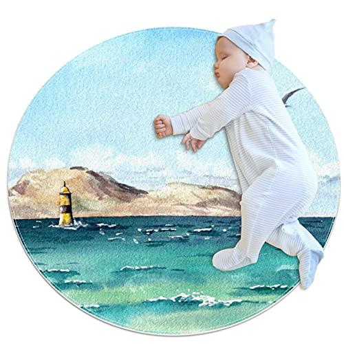 Baby Crawling Mat Alfombras redondas Cartoon Rastrero Playmat Actividad Piso Juego Mat Manta Sala Decoración Gaviota en el mar