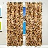 DEZIRO Cortinas de corcho de vino opacas para ventana oscurecimiento de habitaciones, paneles de cortinas/cortinas aislantes térmicos, 2 paneles, juego de 8 ojales por panel, lavables 84 x 55 pulgadas