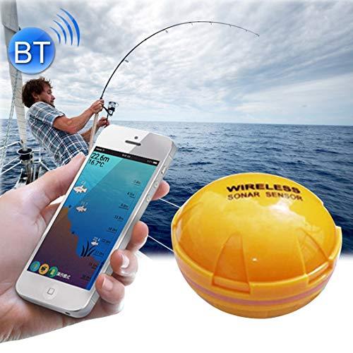 Junjiagao Detector de Peces Bluetooth 125 KHz Sonar Sensor 0.6-36m Profundidad Localizador de Peces Buscador de alarmas para teléfonos móviles iOS y Android
