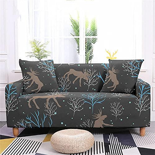 Fundas Sofas 3 y 2 Plazas Ajustables Gris Oscuro Marrón Azul Fundas para Sofa Spandex Lavables Desmontables Fundas Sofa Elasticas Cubre Sofa Modernas Universal Espesas Funda para Sofa