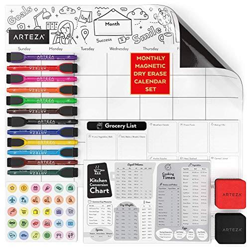 Arteza Whiteboard Kalender-Set, wöchentlicher magnetischer Kalender 43 x 33cm, 23 x 15cm Umrechnungstabelle, Einkaufsliste 28 x 22cm, 12 Marker, 30 Aktivitätsmagnete, 2 Whitboard-Radierer