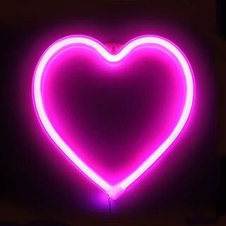 XIYUNTE Heart Néon Enseignes Cœur lumineuses Décoration murale, Batterie et USB alimenté Rose Cœur Néons Applique murale I...