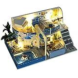 Miniatura de Casa de Muñecas DIY Kit de casa de muñecas en miniatura Casa de bricolaje Conozca la artesanía mediterránea Arme un modelo de juguetes creativos en madera Mini casa de muñecas DIY Kit hec