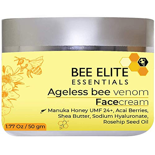 AGELESS BEE VENOM ANTI-AGING FACE CREAM with next Generation Peptides, Vitamin C, Hyaluronic Acid & Retinol   Collagen Booster   Anti Wrinkle - Rejuvenating (Formulated in USA)