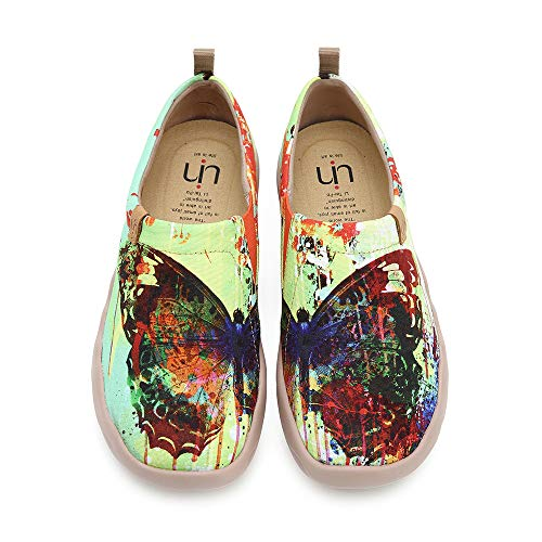 UIN Women's Butterfly Painted Canvas Slip-On Shoes Fashion Ladies Travel Shoes Multicolor (7)