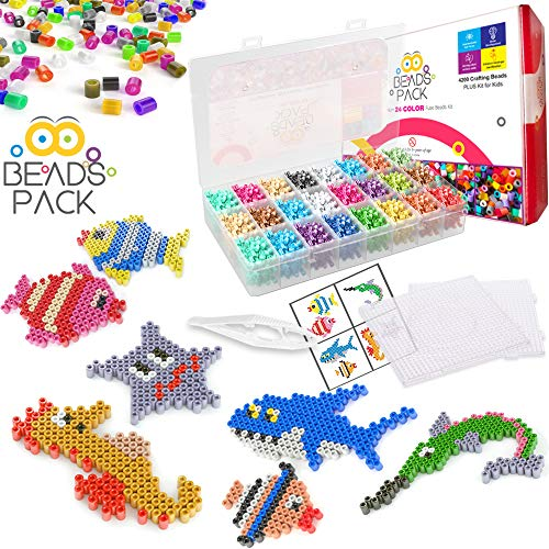 BeadsPack Fuse Beads Kits - 24 Color - 4200 Crafting Melting Bead - 5 mm...