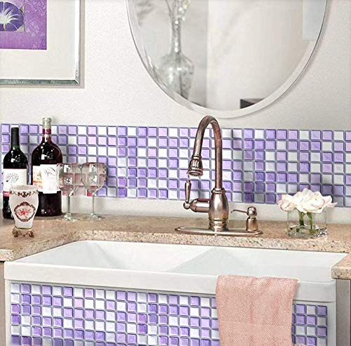 VANCORE 3D Mosaic Sticker Peel and Stick Tile Backsplash Wall Paper for Home Kitchen, Pack of 4, Purple