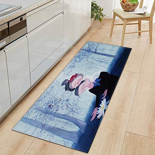 OPLJ Alfombra de Cocina Alfombrilla de Entrada Patrón de Flores 3D Alfombrilla de Suelo para el hogar Decoración de Dormitorio Alfombra de Pasillo Alfombra Antideslizante de baño A25 50x160cm
