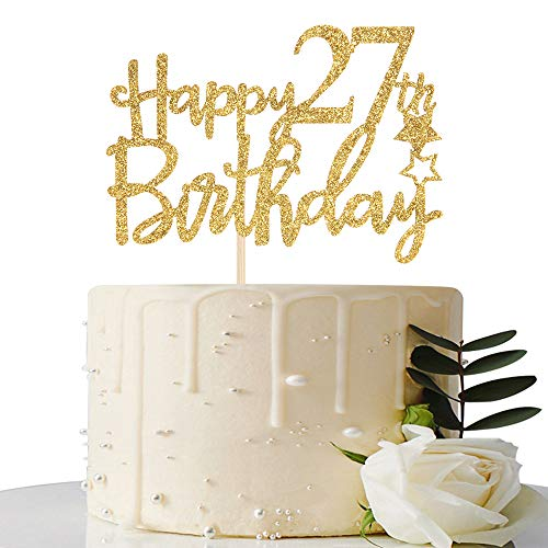 Gold Glitter Happy 27th Birthday Cake Topper - 27 Cake Topper - 27th Birthday Party Supplies - 27th Birthday Party Decorations