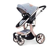 Hot Mom Multi Cochecito Cochecito 2 en 1 con Buggy 2019 Nuevo diseño,Mejor Silla de Paseo Interruptor de una Tecla Entre el Asiento y la Cama para Bebés Cochecitos para Bebes de Paseo Gris Carritos