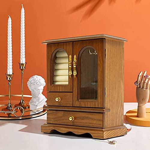 Fetcoi Joyero vintage para mujer, color marrón, 4 capas, de madera, para guardar joyas, anillos, collares