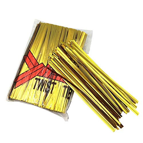 XC-TIE 500PCS 4'' Metallic Twist Ties Plastic Cable Ties for Bread Candy Bags, Party Cello, Cake Pops (Gold-500PCS)