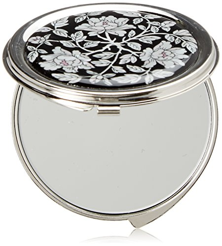 Mother of Pearl Peony Design Metal Round Double Compact Cosmetic Makeup Pocket Handbag Mirror, 3.2 Ounce by Antique Alive