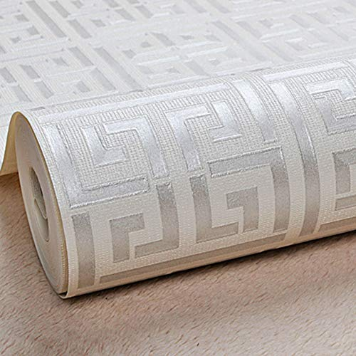 Wallpaper PVC Vintage Luxury Damask Embossed Textured Wallpaper Roll Home Decoration Greek Key Lattice Modern Geometric for Home Bar Wall Decoration,Silver