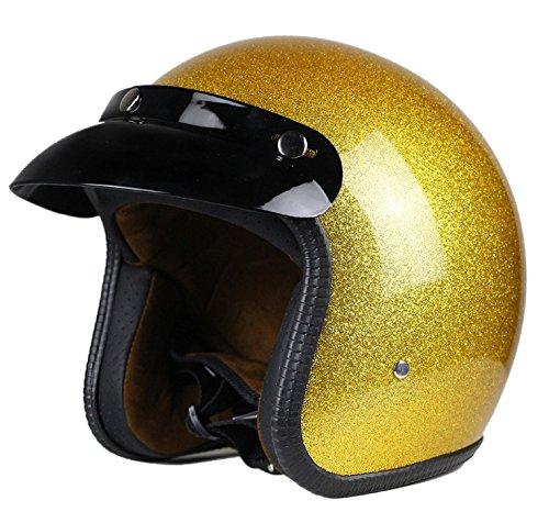 Woljay 3/4 Offener Sturzhelm, Helmet Motorrad-Helm Jet-Helm Scooter-Helm Vespa-Helm Halbhelme Motorrad Helm Flat Gelb (L)