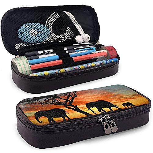 Wildlife Sunset PU Leather Pen Pen Bag 20 * 9 * 4 cm (8X3.5X1.5 Inches) Pouch Case Holder School Supplies Porte-monnaie Cosmetic Bag