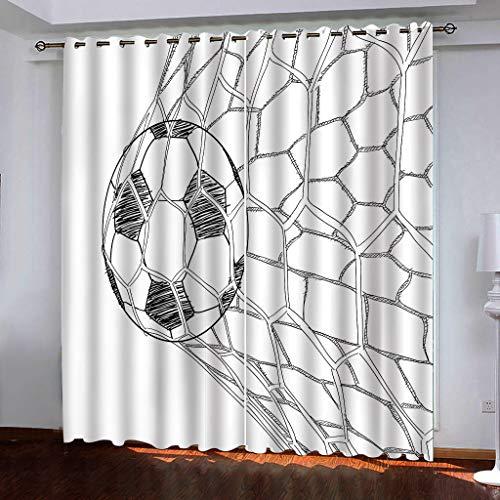 Tende Creative Stampa 3D Tiro Calcio Oscurante per La Decorazione Domestica Soggiorno Camera da Letto Occhiello Tende 166 (H) X75Cm (L) X2