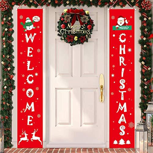 Annhao Banner di Natale 2 Pezzi di Benvenuto Buon Natale Portico Segno Banner Door di Benvenuto Decorazioni per Porta di Natale Decor di Decorazioni di Natale Outdoor Indoor (Rosso - 1)