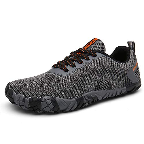 XIANV Men Women Trail Running Barefoot Shoes Gym Walking Trail Beach Lightweight Hiking Water Shoes Athletic Slip-On Shoes (10, Gray)