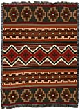 Sundance - Southwest Native American Inspired Tribal Camp - X Large - Cotton Woven Blanket Throw - Made in The USA (82x62)