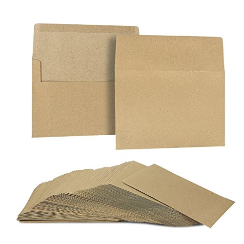 Juvale 100 Count Brown Kraft A7 Invitation Envelopes for 5x7 Card Wedding Cards Photos Baby Shower Party Invites Square Flap 5.25 x 7.25 Inches