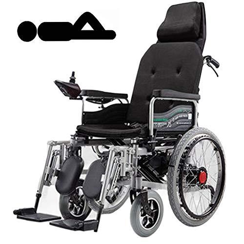 DGPOAD Faltbarer Power Kompakter Mobilitätshilfe-Rollstuhl, Leichter elektrischer Elektrorollstuhl, tragbarer medizinischer Roller, unterstützt 265 £, mit Pedalen und Sitzen/Schwarz