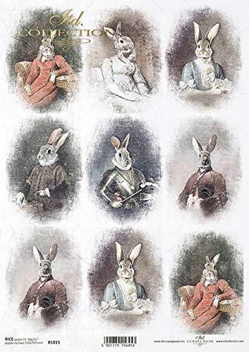Frl.Erna Reispapier, Decoupagepapier, Motivpapier, Strohseide, Papier, R1815 * Ostern, Osterhasen, Nostalgie, Romantik