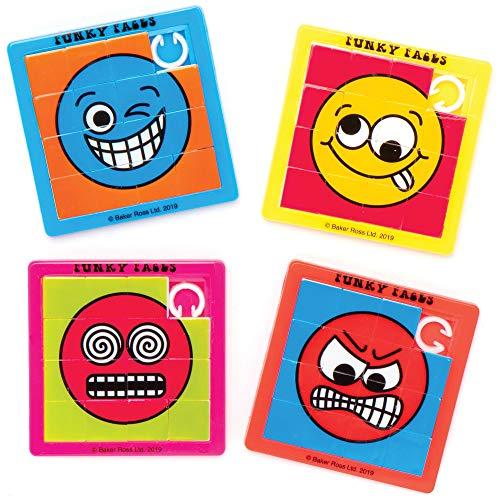 Baker Ross AT981 Lustige Gesichter Schiebe Puzzle - 6er Pack, Kindergeburtstag Gastgeschenke, Kleine Geschenke für Kinder, Mitgebsel