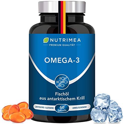 Krillöl Kapseln - PREMIUM Omega 3 Fettsäuren - Antarktis Krill Öl aus nachhaltigem Fischfang OHNE Zusätze - Reines Fischöl reich an DHA EPA Astaxanthin