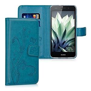 kwmobile Funda Compatible con Huawei Y6 II - Carcasa de Cuero sintético Flores y Mariposas - con Tarjetero