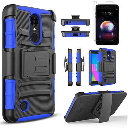 LG Aristo 2 Case, LG Tribute Dynasty Case, LG Rebel 3 LTE Phone Case, With [Premium Screen Protector] With Kickstand Holster Heavy Duty And Stylus For LG Zone 4/Fortune 2/Risio 3/LG Aristo 2 Plus-Blue