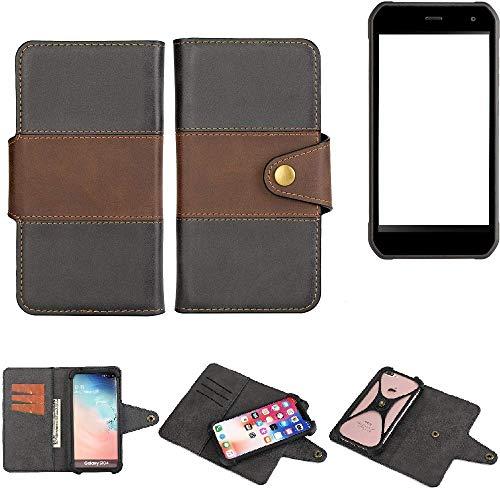 K-S-Trade® Handy-Hülle Schutz-Hülle Bookstyle Wallet-Case Für -Cyrus CS 40- Bumper R&umschutz Schwarz-braun 1x