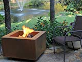 "Bentintoshape 30"" Square Cor-Ten Steel Wood Burning Fire Pit with a Propane Gas Fire Ring"