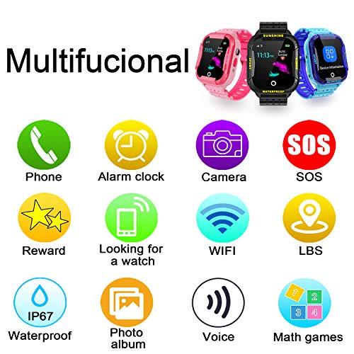 Kinder Intelligente Uhr Wasserdicht, Smartwatch WiFi Tracker mit Kinder SOS Handy Touchscreen Spiel Kamera Voice Chat Wecker für Jungen Mädchen Student Geschenk (K22 Rosa)